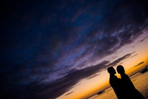 couple posing for some silhouette style