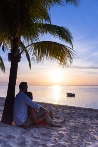 couple sitting under the shade of coconut tree while watching the sunset