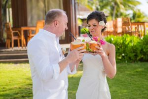 best mauritius wedding entrance with a coconut cocktail