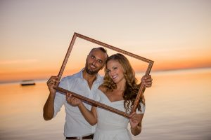 beautiful frame for a beautiful newly married couple in a beautiful sunset in mauritius