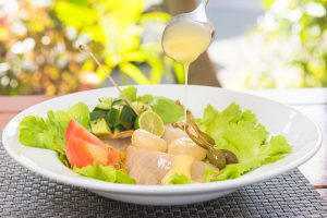 Smoked Marlin salad with passion fruit