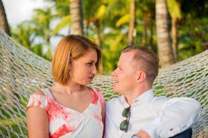 new married couple on hammock