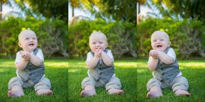 baby posing after wedding ceremony